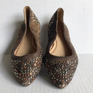 FRYE Regina Studded Leather Ballet Flats 7M